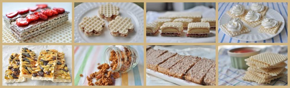 przykłady deserów z waflami